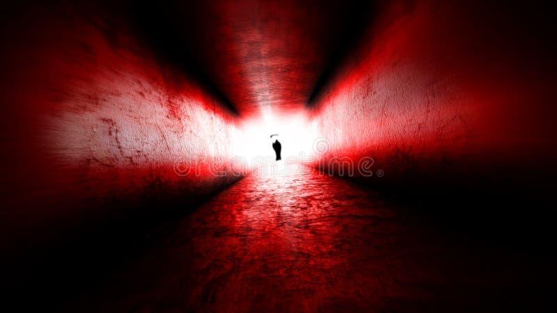 Lumière lumineuse à la fin du La mort à la fin du voyage images libres de droits