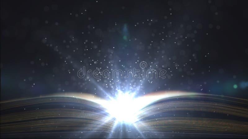 Lumière lumineuse dans l'éducation Vol plané fantastique de particules au-dessus du livre Endroit pour le signe illustration libre de droits