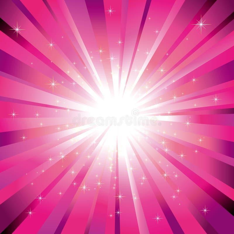 Lumière magenta éclatée avec des étoiles illustration libre de droits