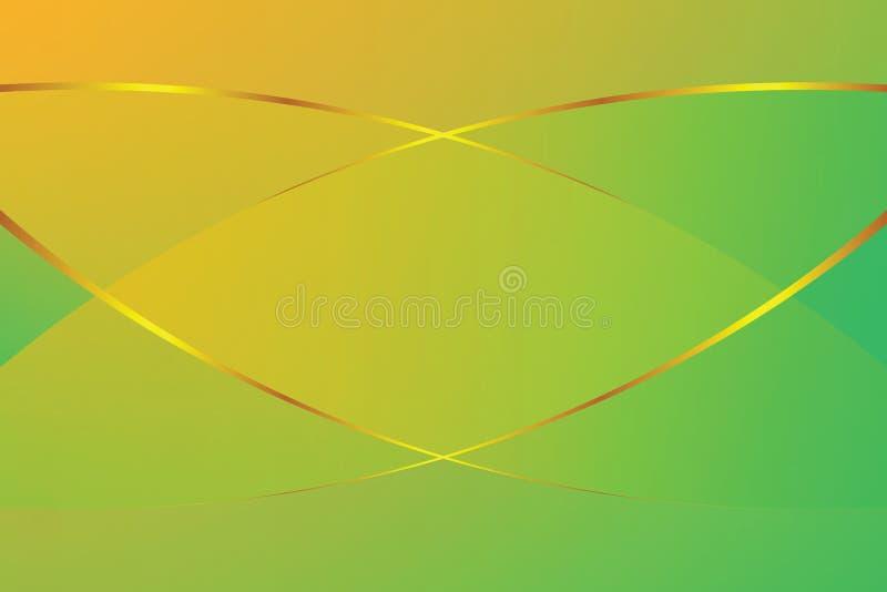 Lumière molle de couleur verte et jaune de gradient et symbole graphique à traits d'or pour le fond moderne de luxe de la publici illustration stock