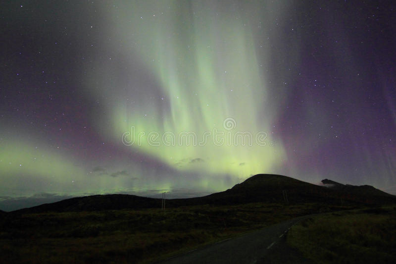 Lumière nordique au-dessus d'Offersoey photos libres de droits