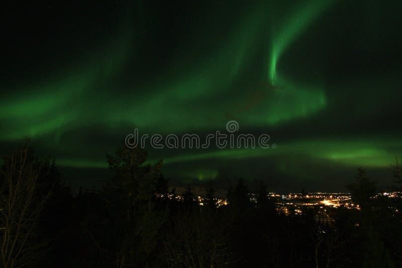 Lumière nordique au-dessus de Leknes dans Lofoten photos stock