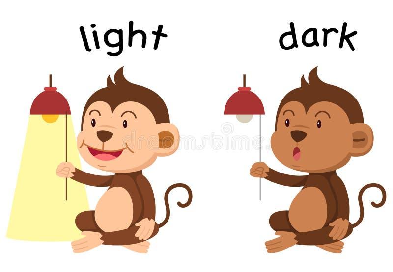 Lumière opposée de mots et vecteur foncé illustration libre de droits