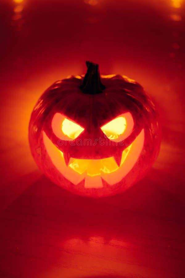 lumière orange de potiron de Jack-o-lanterne, fond de Halloween photo libre de droits