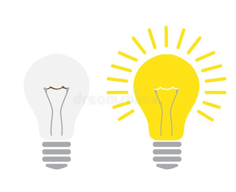 Lumière outre de et lumière sur l'ampoule rougeoyant et arrêtée électrique illustration libre de droits