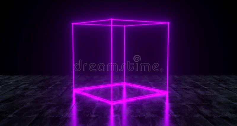 Lumière primitive au néon de cube en science fiction futuriste géométrique sur le GR foncé illustration de vecteur