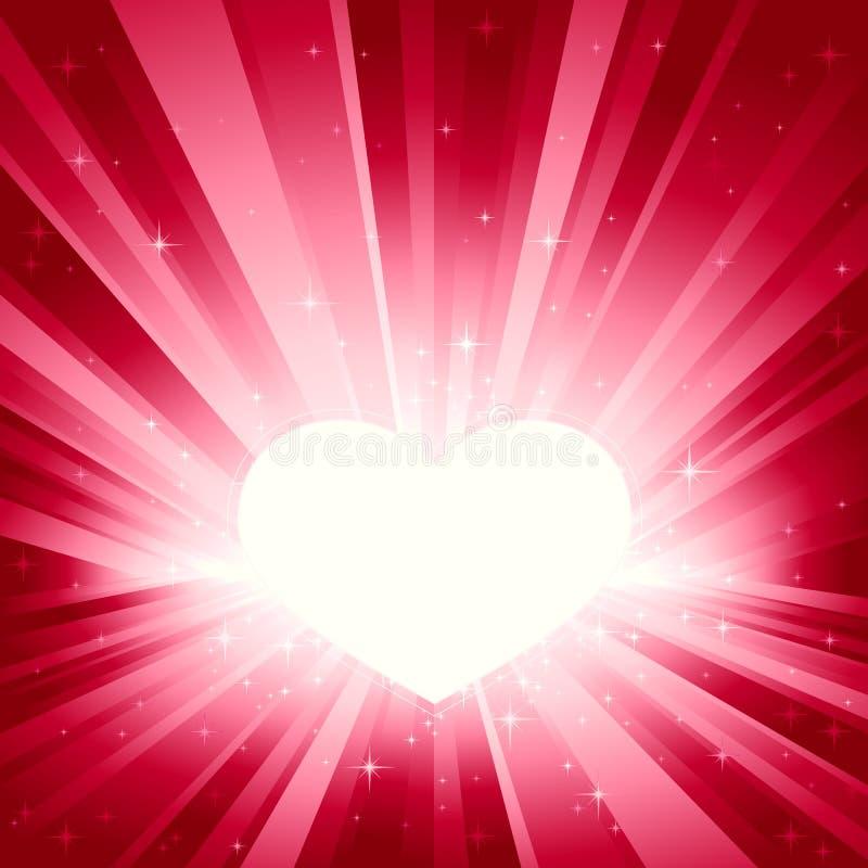 Lumière rose éclatée avec le coeur de Valentine illustration stock