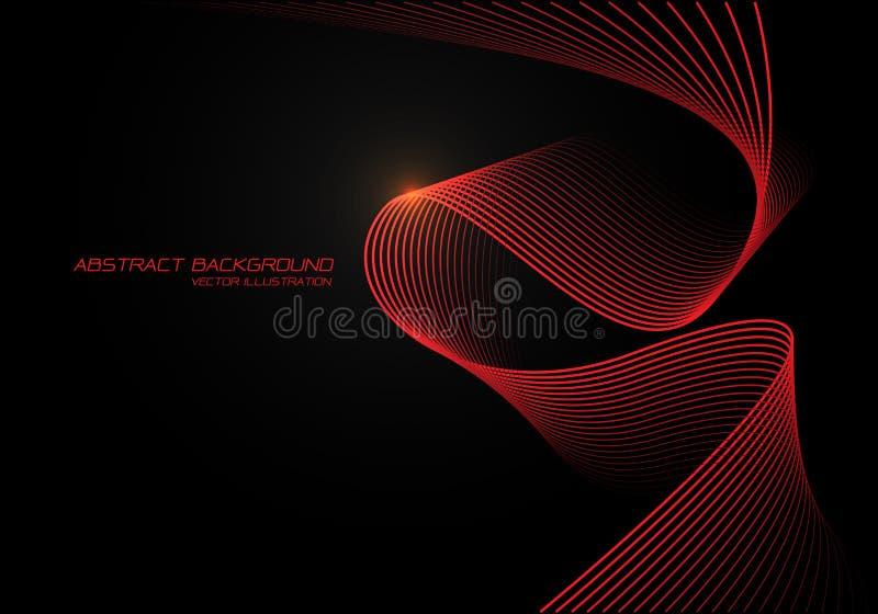 Lumière rouge abstraite de la courbe 3D de vague sur le vecteur futuriste moderne de fond de conception noire illustration libre de droits