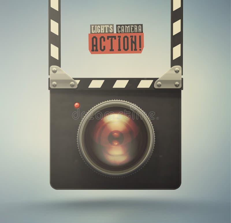 Lumières, appareil-photo, action illustration de vecteur