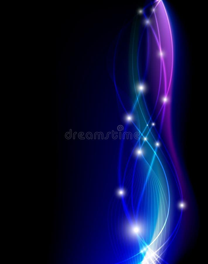Lumières bleues d'imagination sur le fond noir illustration de vecteur