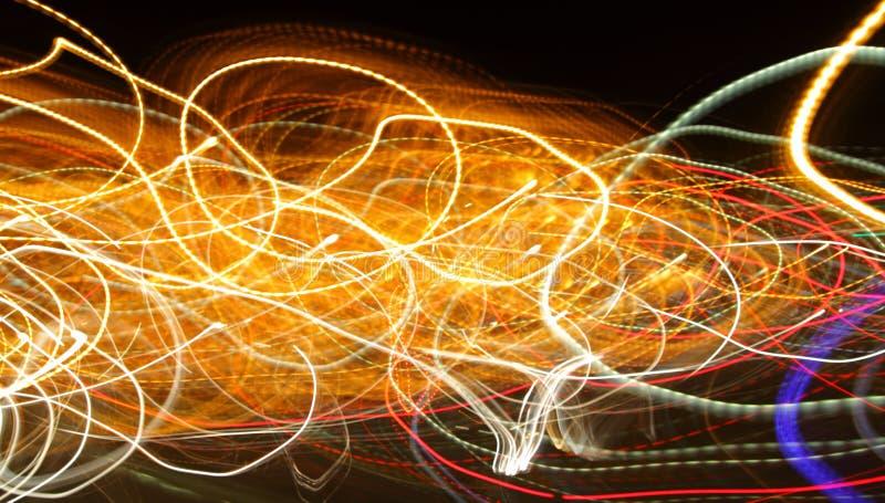 Lumières chaotiques dans la tache floue de moriol image stock