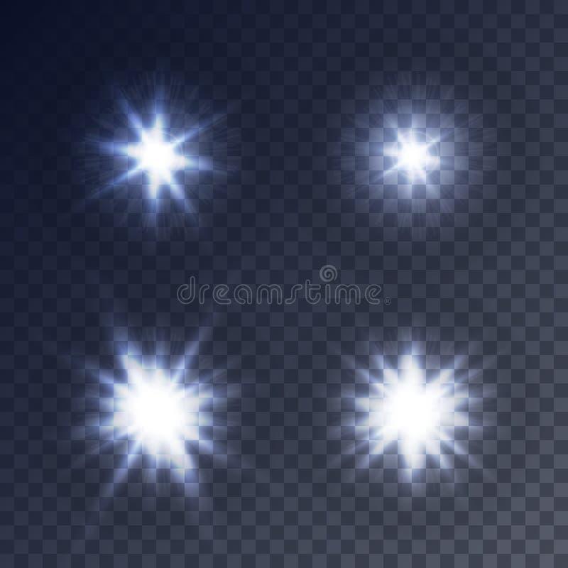 Lumières clignotantes d'étoiles, de clignotement et de scintillement illustration de vecteur