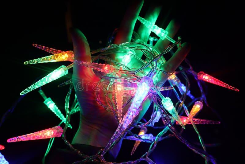 Lumières colorées à disposition photo stock