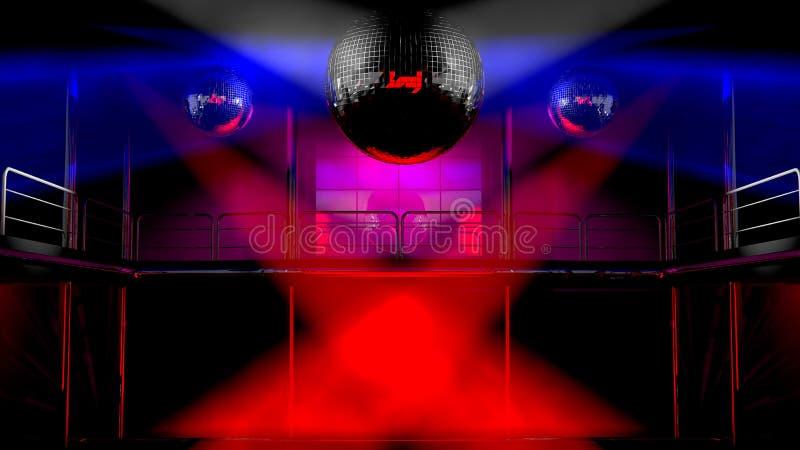 Lumières colorées de discothèque de boîte de nuit illustration de vecteur