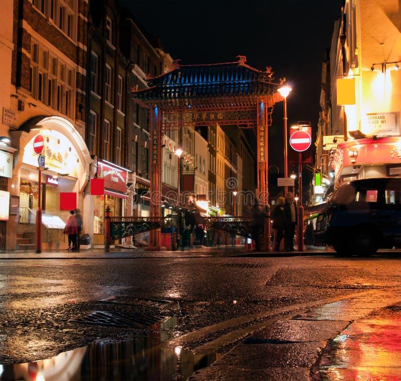 Lumières colorées de ville de la Chine, Londres images stock