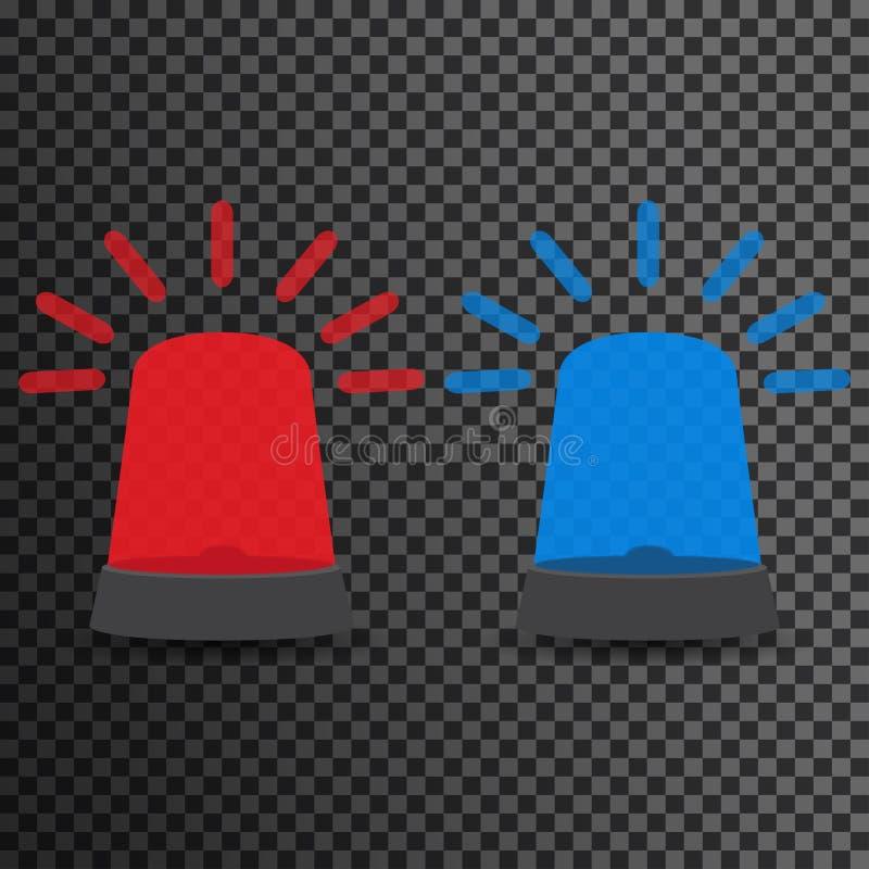 Lumières d'ambulance Voyants et sirènes d'alarme de clignotant La police bleue et rouge balise illustration libre de droits