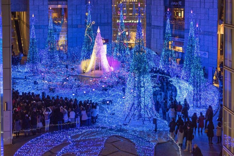 Lumières d'illumination de Noël à Tokyo image libre de droits