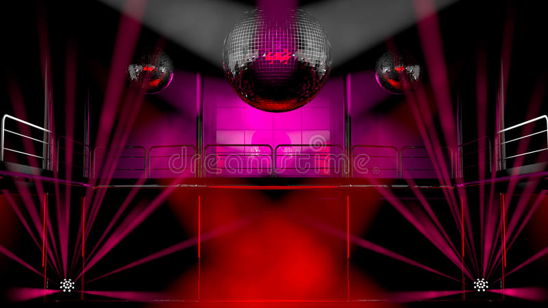 Lumières de boîte de nuit et billes colorées de disco illustration stock