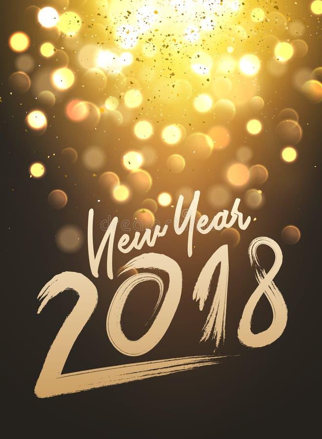 Lumières de conception de bokeh de partie de nouvelle année Illustration de carte de lueur d'affiche de nouvelle année illustration de vecteur