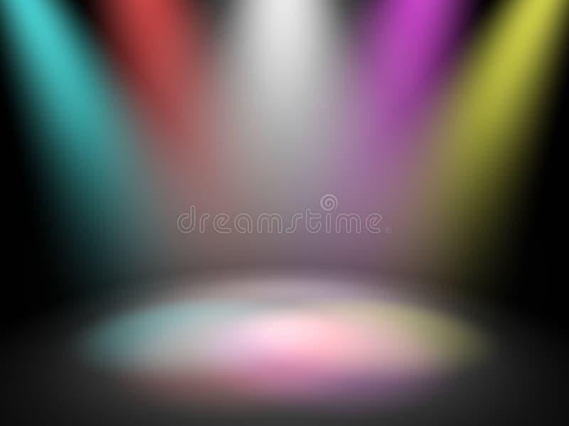 Lumières de disco d'étape illustration de vecteur
