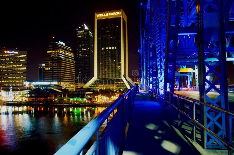 Lumières de Jacksonville pendant la nuit image libre de droits