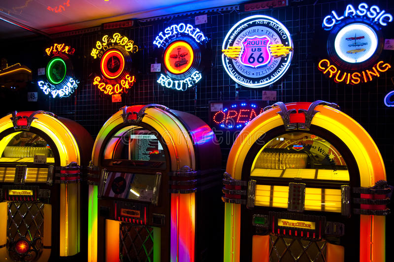 Lumières de juke-box de musique image libre de droits