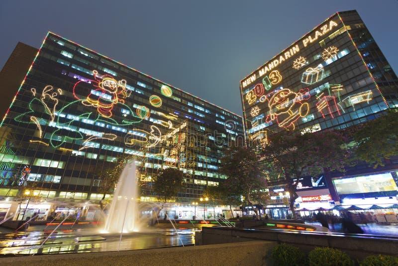 Lumières de Noël à Hong Kong images stock