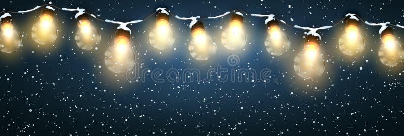Lumières de Noël avec la neige illustration de vecteur