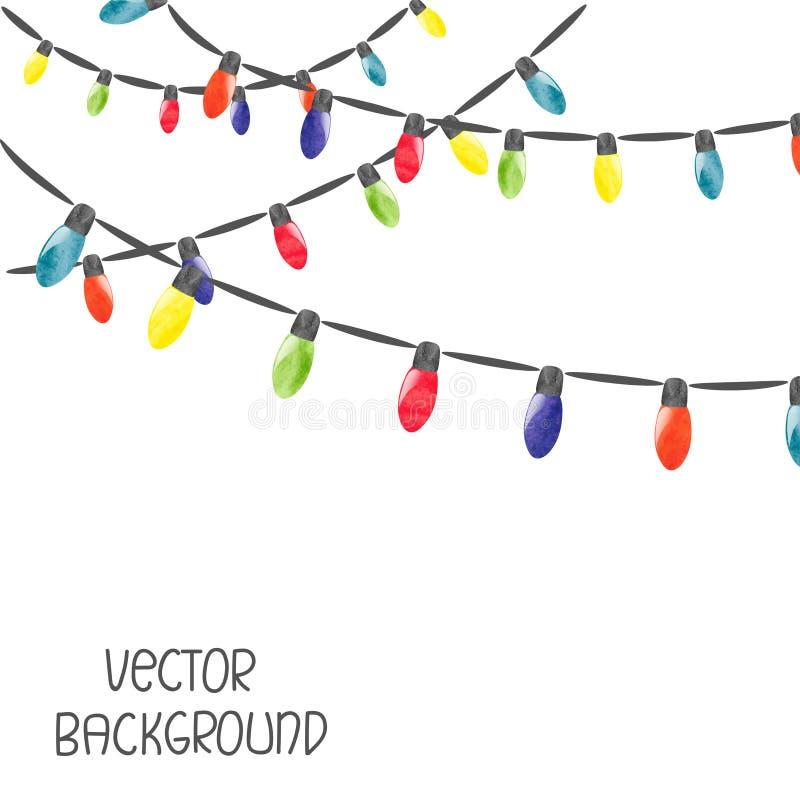 Lumières de Noël d'isolement sur le fond blanc illustration stock