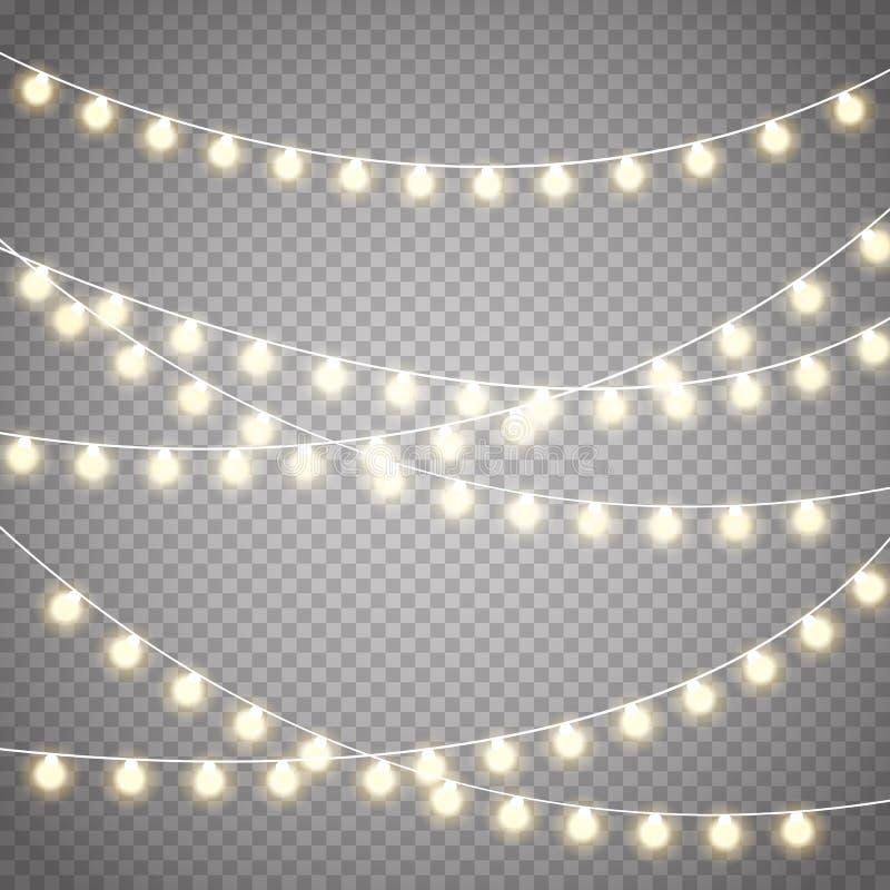 Lumières de Noël d'isolement sur le fond transparent Guirlande rougeoyante de Noël de vecteur illustration de vecteur