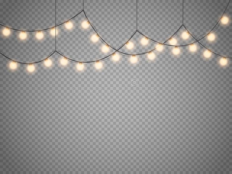 Lumières de Noël d'isolement sur le fond transparent Guirlande rougeoyante de Noël de vecteur illustration libre de droits