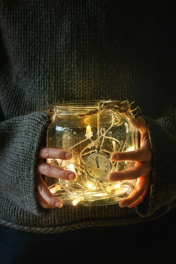 Lumières de Noël dans le pot photo libre de droits