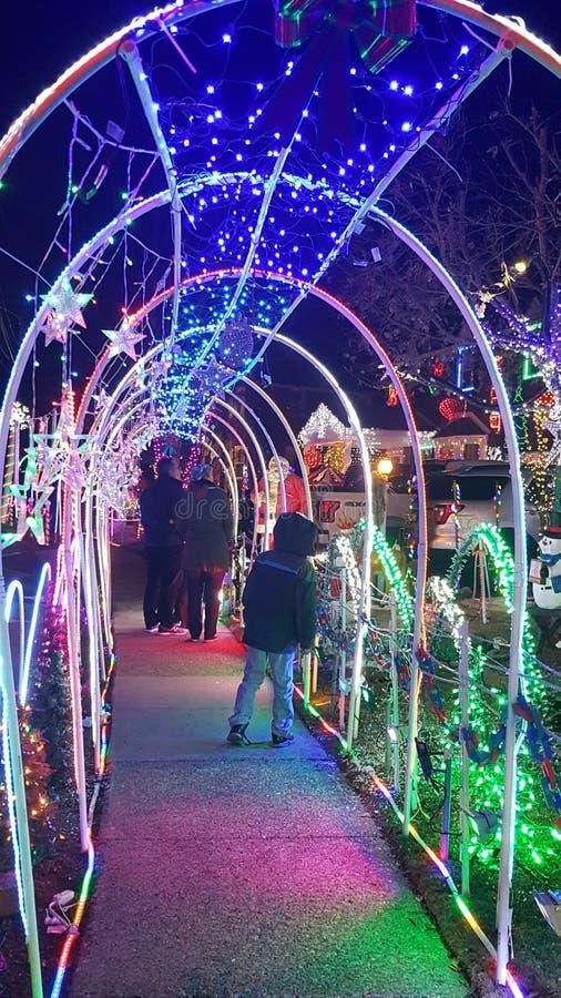 Lumières de Noël en abondance photographie stock