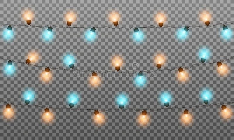 Lumières de Noël La ficelle multicolore réaliste allume la guirlande pour la saison de nouvelle année et de Noël Lumières brillan illustration stock