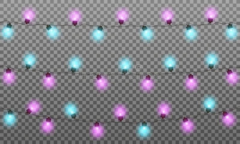 Lumières de Noël La ficelle multicolore réaliste allume la guirlande pour la saison de nouvelle année et de Noël Lumières brillan illustration libre de droits