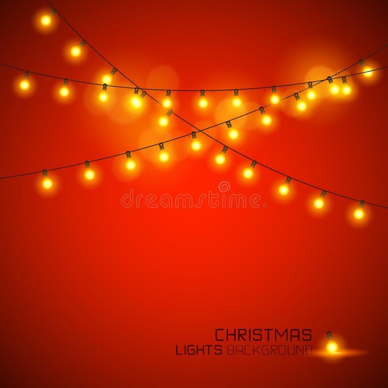 Lumières de Noël rougeoyantes chaudes illustration libre de droits
