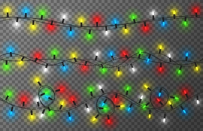 Lumières de Noël sur le fond transparent Guirlande colorée, lumineuse et rougeoyante de Noël Décoration d'an neuf illustration libre de droits