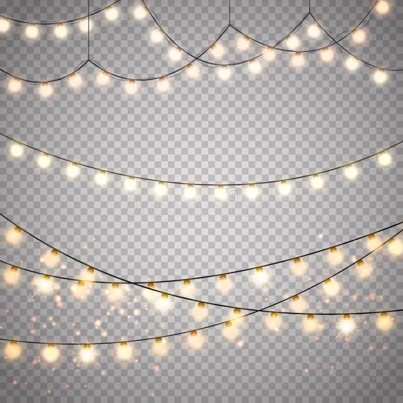 Lumières de Noël sur le fond transparent Guirlande rougeoyante de Noël de vecteur illustration libre de droits