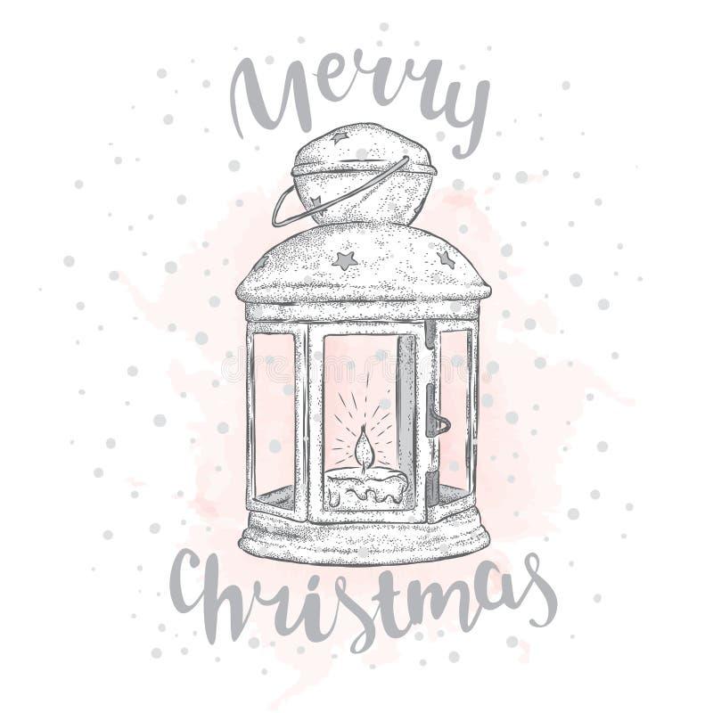 Lumières de Noël de vintage et arbre de Noël avec des boules Illustration de vecteur pour une carte ou une affiche ` S de nouvell illustration libre de droits