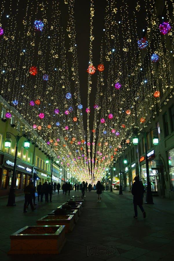 """Lumières de nuit dans la ruelle de """"Chamberlain """"de Moscou photo stock"""
