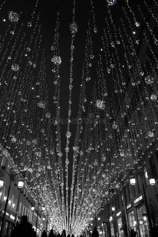 """Lumières de nuit dans la ruelle de """"Chamberlain """"de Moscou photographie stock libre de droits"""