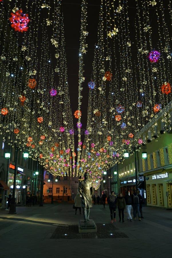 """Lumières de nuit dans la ruelle de """"Chamberlain """"de Moscou photographie stock"""
