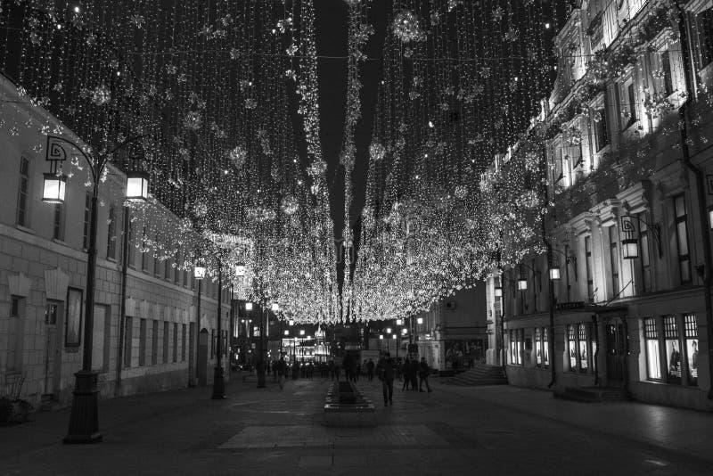 """Lumières de nuit dans la ruelle de """"Chamberlain """"de Moscou photos stock"""