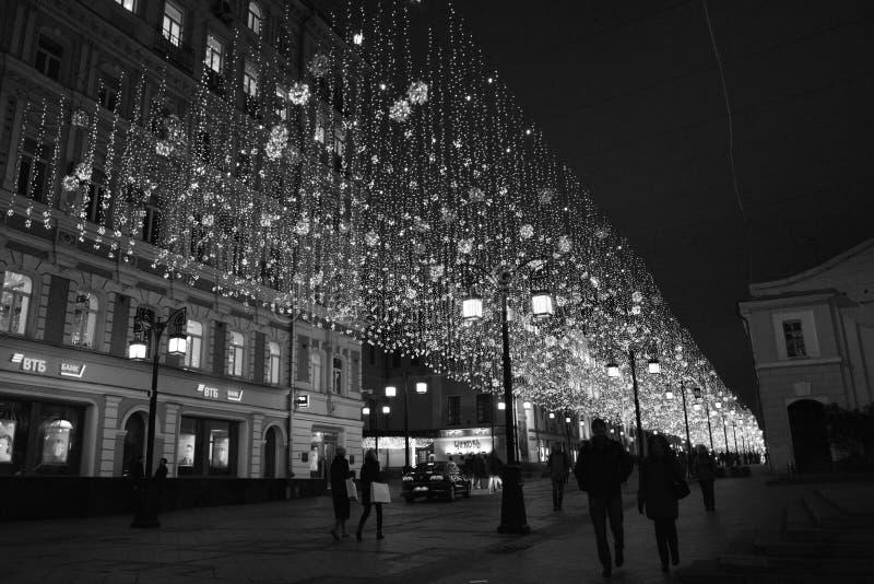 """Lumières de nuit dans la ruelle de """"Chamberlain """"de Moscou photo libre de droits"""