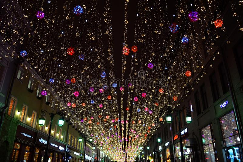 """Lumières de nuit dans la ruelle de """"Chamberlain """"de Moscou image stock"""