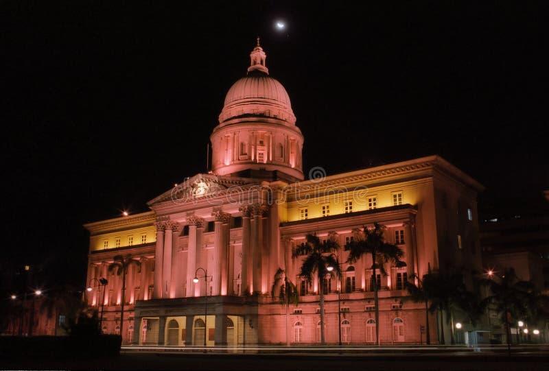 Lumières de nuit de Singapour image stock