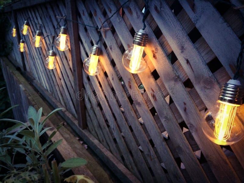 Lumières de patio de style d'Edison photo stock