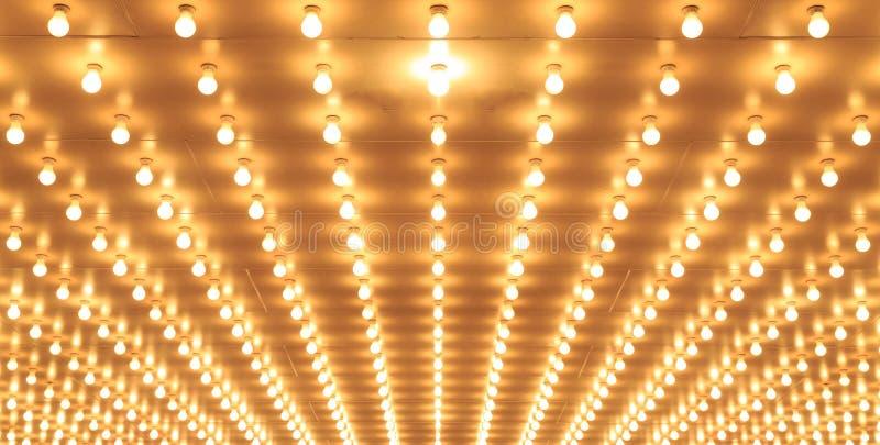 Lumières de théâtre alignées de théâtre de Chicago Lumières de casino photos stock