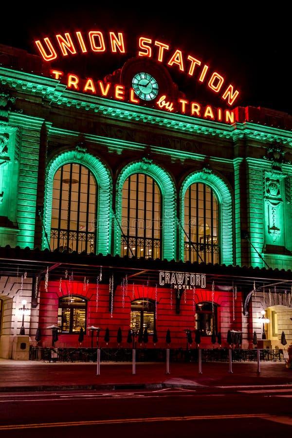 Lumières de vacances en Denver Colorado Etats-Unis images stock