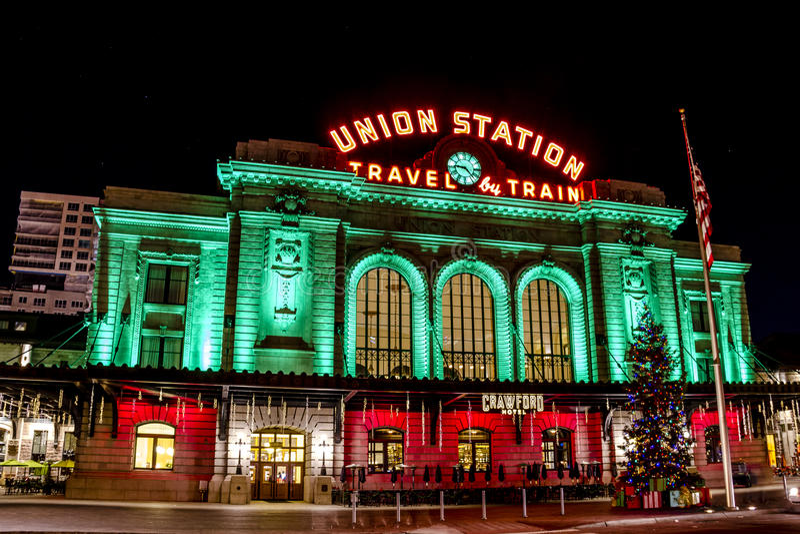Lumières de vacances en Denver Colorado Etats-Unis photo stock